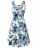 FENSACE Women's Sleeveless Scoop Neck Summer Beach Midi Flared Tank Dress (X-Large, 17020-9)