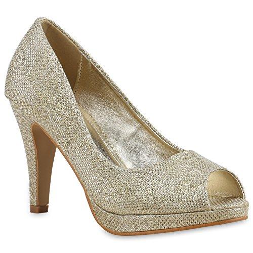 Damen Pumps Plateaupumps Stiletto High Heels Velours Peeptoes Leder-Optik Plateau Vorne Party Schuhe 128894 Gold Avion 38 Flandell