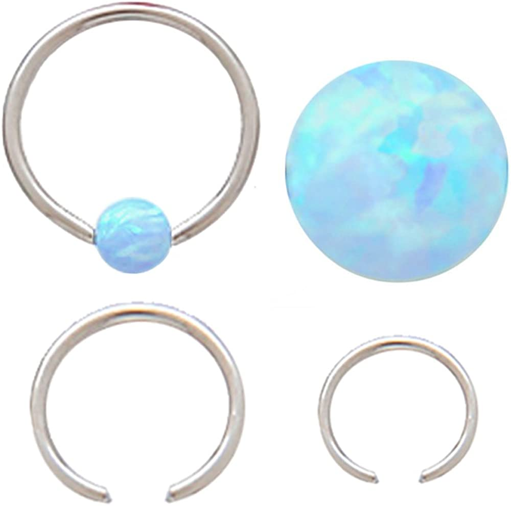 Sparkling synthetic fire Opal Captive Septum Cartilage Tragus Earring Nose Nipple body Jewelry piercing ring rings 14g 5/16