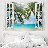 ABAKUHAUS Tropisch Wandteppich, Fenster zum exotischen Strand, aus Weiches Mikrofaser Stoff Für das Wohn und Schlafzimmer, 150 x 110 cm, Grün Blau Braun