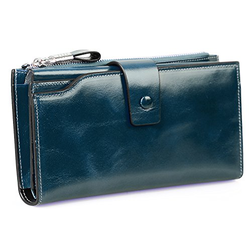 Jack&Chris Ladies Wallet Women's RFID Blocking Wallet Genuine Leather Clutch Card Holder Large Purse,Peacock Blue