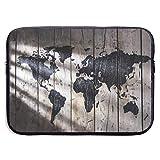 13/15 inch Schwarze Weltkarte auf Holzbrett Laptop-Ärmeltasche Tragbare...