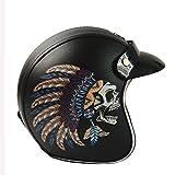 Cara abierta Harley casco de la motocicleta de los hombres y de las mujeres del cuero retro del cráneo del casco del ECE del PUNTO Certificado Knight viaje Calle conducción de scooters Jet Casco,B,M
