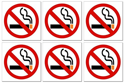 """6""""No Smoking"""" Vinyl Decal Stickers for Indoor/Outdoor Use; 3 X 3 Inches for Windows, Doors & Walls, etc. with Adhesive on Back of Label"""