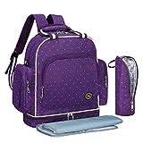 QIMIAOBABY Diaper Bag Smart Organizer Waterproof Travel Diaper Backpack Handbag with Changing Pad (Purple dot)