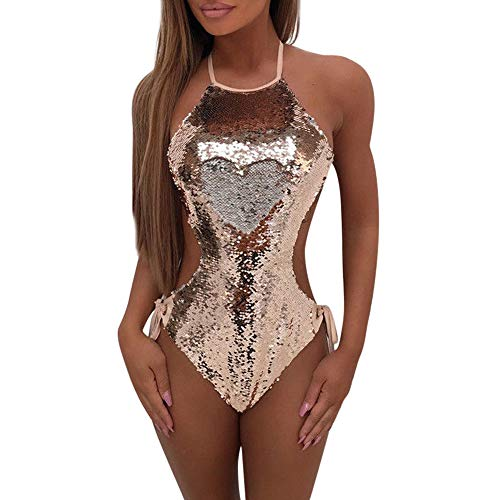 IZHH Damen Einteilige Badebekleidung, Damen Pailletten-Weste Bikini-Verband-Overall Einteiliger Badeanzug Push-Up Gepolsterter BH-Bikini Einteiliger Badebekleidung Beach Bikini(Rosa,Large)