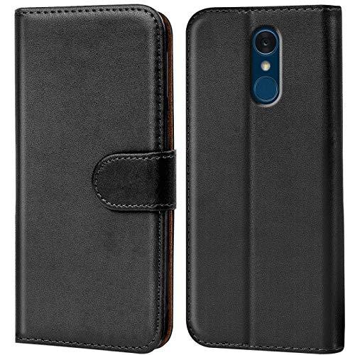 Verco LG Q7 Plus Hülle, Handyhülle für LG Q7+ Tasche PU Leder Flip Hülle Brieftasche - Schwarz