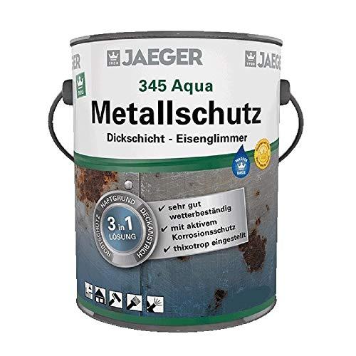 Jaeger Aqua Metallschutzlack 345 mit Eisenglimmer, 3in1 Rostschutz, Haftgrund, Deckanstrich (2,5 Liter, dunkelgrau DB703)