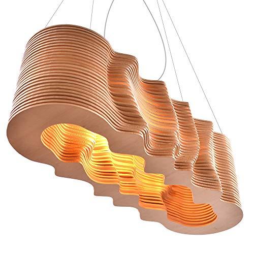 Nordic Holz Pendelleuchte Welle Design Licht 3D Wirkung Digitalsteuerung Dekoration Restaurant Wohnzimmer Esszimmer DIY Originell Design (L)