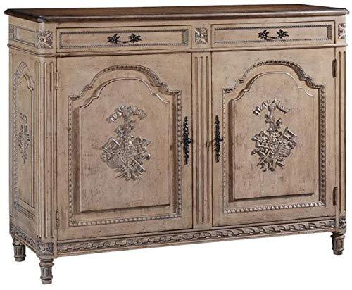 EuroLux Home Sideboard French Louis XVI White Walnut Pretty Hand Carved Wood