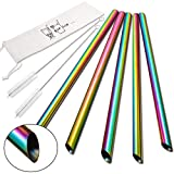 5 Pcs 10' Reusable Boba Straws & Smoothie Straws - Rainbow Colors & Angled Tips, 0.5' Wide Stainless Steel Straws, Metal Straws for Bubble Tea, Milkshakes, Jumbo Drinks   2 Cleanning Brushes & 1 Case