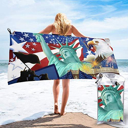 Toallas de Playa de Antiarena de Microfibra para Hombre Mujer, 130x80cm, Toallas Baño Calidad Gigante Secado Rapido para Piscina, Manta Playa, Toalla Yoga Deporte Gimnasio,Bandera de Estados Unidos