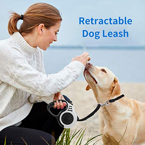 Ajcoflt Retractable Dog Leash Pet Walking Leash with Anti-Slip Handle Dog Training Leash with One-Handed Brake 5m Great for Training Play Camping Backyard