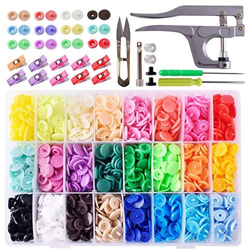 Tomkity 24 Colores T5 400 Botones Snaps Botón Redondo Plastico con Alicate DIY Manualidades Snaps Costura para Uso Doméstico
