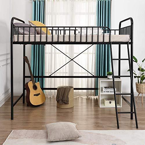 Łóżko na poddaszu z drabiną, podwójna rama łóżka na poddaszu Twin rozmiar z pełnowymiarową poręczą, z przestronną przestrzenią pod łóżkiem, nadaje się do dekoracji różnych pomieszczeń