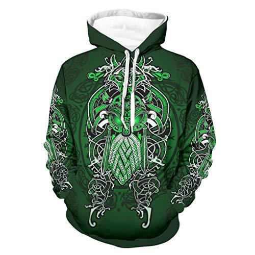 Bannihorse Herren Wikingergrün Sweatshirt Boyfriend Style - Weich Jacke Black 5XL