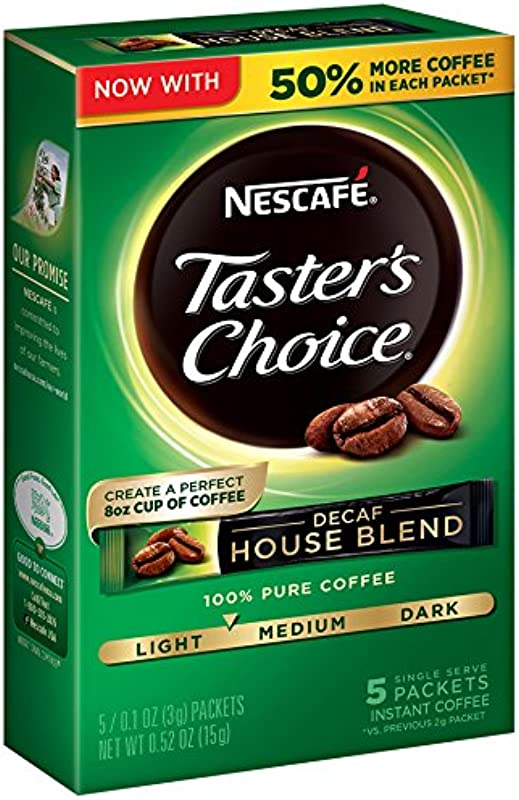 Nescafe Taster S Choice Decaf Instant Coffee House Blend Pack Of 12
