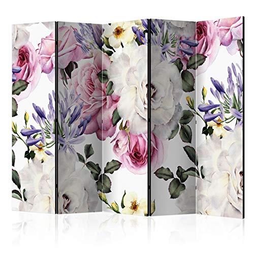 murando Raumteiler Natur Blumen Rose Foto Paravent 225x172 cm beidseitig auf Vlies-Leinwand Bedruckt Trennwand Spanische Wand Sichtschutz Raumtrenner Home Office b-B-0388-z-c