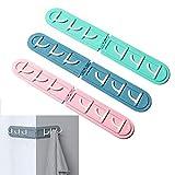 4 ganchos para colgar en la pared, 6 ganchos plegables para cocina y baño, sin perforaciones, multifuncionales, para utensilios de cocina (4 colores)