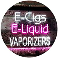 E-Cigs E-Liquid Vaporizers Shop Indoor Display Dual LED看板 ネオンプレート サイン 標識 White & Purple 300 x 210 mm st6s32-i2562-wp