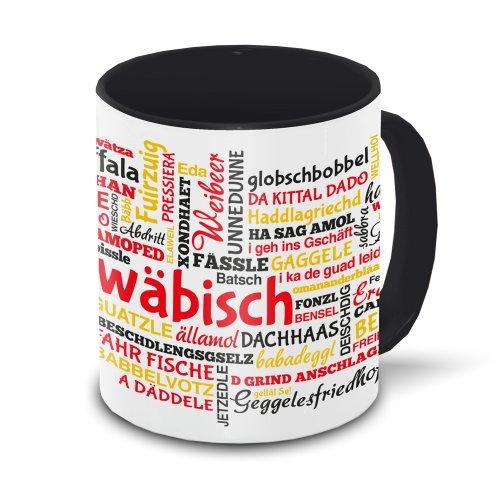 Schwaben-Tasse Tagcloud - weiß/schwarz - Tasse mit typischen Wörtern im schwäbischen Dialekt