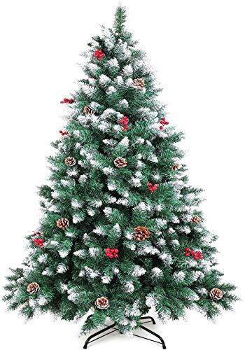 WEWILL Árbol de Navidad Artificial 180CM Árbol de Navidad Nevado con Conos de Pino Decorados y Bayas Rojas Pino Blanco Natural para Decoraciones