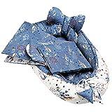Solvera Ltd - 5tlg. Kuschelnest-Set II Baby Ausstattung-Set Für Neugeborene II Kuscheldecke, Kissen und herausnehmbarer Einlage. 100% Baumwolle (Traumfänger Blau)