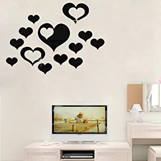 HOODDEAL Acrylic Heart-Shaped Mirror Wall Stickers Plastic Removable Heart Art Decor Wall Poster Living Room Home Decoration,Multi-Size (15PCS, Black)