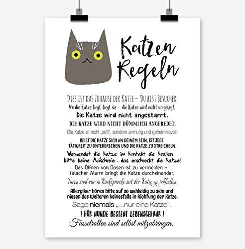 Prints Eisenherz Katzen Regeln Kunstdruck Poster (A3)