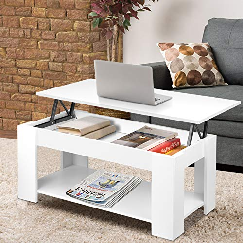 Coffee Table With Storage Lift Up Coffee Table For Living Room Modern Coffee Tables Large Hidden Compartment Wood Fold Top Expanding Living Room Furniture (White)