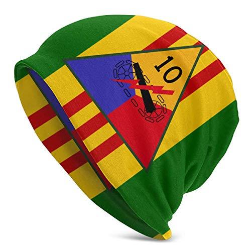 shenguang, Banderas conmemorativas de la décima división blindada, Gorro de Punto Unisex, Gorro de Calavera, Gorro de Cobertura, Gorro