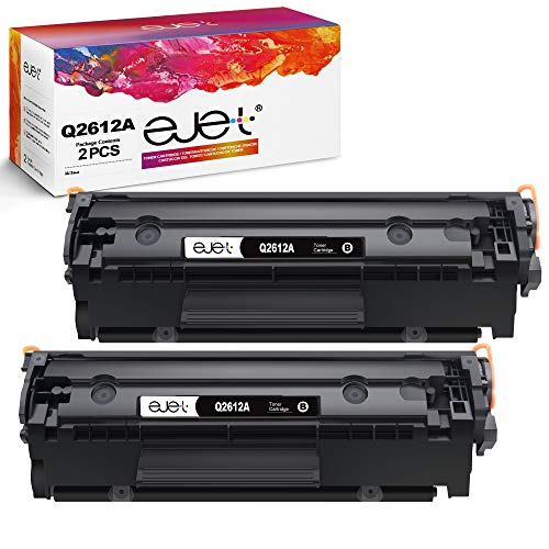 ejet Compatibile per HP 12A Q2612A Cartuccia di toner per HP Laserjet 1010 1012 1015 1018 1020 1022 1022n 1022nw 3015 3020 3030 3050 3052 3055 M1005 M1319 M1319f (2 Nero)