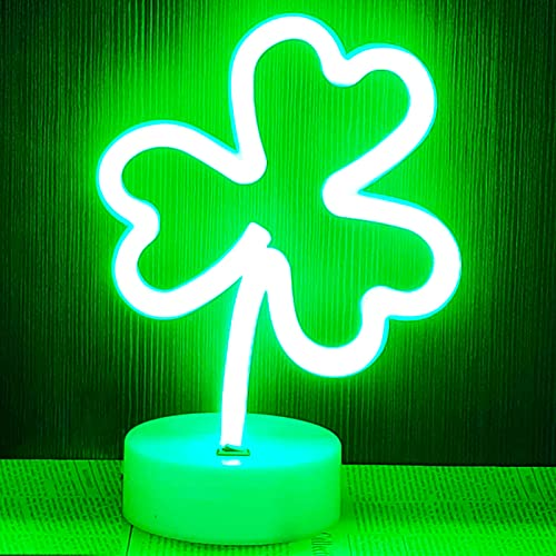YIVIYAR Shamrock Neon Lights LED Neon Signs for Bedroom Green Good Luck Clover Neon Light with Base Battery/USB Operated Lucky Clover Green Light St. Patrick's Day Decorations Neon Night Light(Clover)