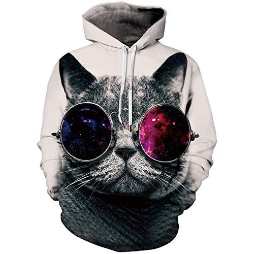 SLYZ Autumn and Winter Men's New Glasses Cat Sweater Men's 3D Digital Printing Sports Hoodie Men's Top
