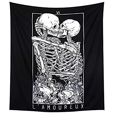 LOMOHOO Skull Tapestry Kissing Lover Black and White Tarot Skeleton Flower Tapestry Wall Hanging Beach Blanket Romantic Bedroom Dorm Home Decor (L:148x200cm/58 x79) - ➽ Skull Kissing Lovers Tapestry with delicate hand-sewn finished edges, HD Printing technology, clean Skull kissing lover, tarot, flower pattern, it is a funny and romantic wall decor for bedroom, living room, dorm, home. ➽ Two Size Available: M: 51 x 59 inch/ 130 x 150 cm; L: 58 x 79 inch/ 148 x 200 cm. ➽ Material: This Black and White Skull Tapestry made of soft and skin-friendly polyester fabric. It is lightweight to hang and durable for indoor or outdoor use. Easy to carry when you are traveling. - living-room-decor, living-room, home-decor - 51XIBTiQPNL. SS400  -