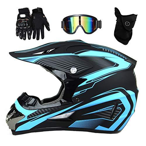 Casco de motocross/motocicleta para adultos con guantes, máscara, casco de bicicleta de montaña Quad ATV Adventure para hombres y mujeres, juego de protección para motocicleta, azul