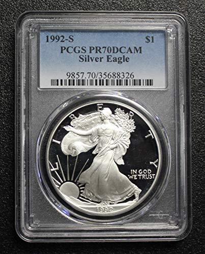 1992 S AMERICAN SILVER EAGLE $1 PR-70 PCGS DCAM