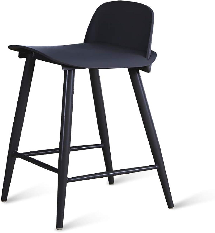 Bar Chair Simple Creative Coffee Bar Bar Chair Modern Back Bar Stool Bar High Stool Size  45×43×89 76cm (color   Black, Size   76cm)