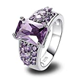 Psiroy Women's 925 Sterling Silver Created Amethyst Filled Wedding Ring Band Size 10