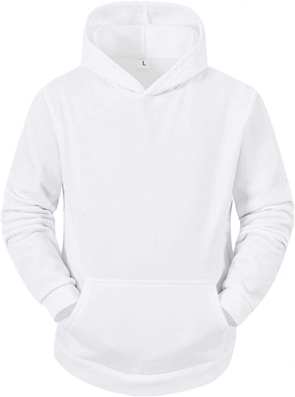 KEEYO Mens Plain Hoodies Sweatshirts Casual Lightweight Long Sleeve Cotton Hooded Pullover Tops with Kanga Pocket