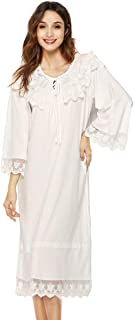 Exquisite Victorian Style Cotton Nightgown for Women Vintage Sleepwear