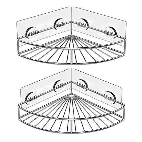 Transser- 2 Pack Adhesive Corner Bathroom Shelf Storage Wall Mounted Shower Caddy Rack Organizer for Kitchen Toilet Stainless Steel No Drilling (Silver)