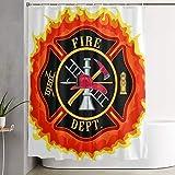 VINISATH Duschvorhang,Feuerwehr-Symbol mit Leiter Öffentlicher Dienst Wesentliche Werkzeuge der Feuerwehrleute,wasserdichter Badvorhang mit 12 Haken Duschvorhangringen 180x180cm