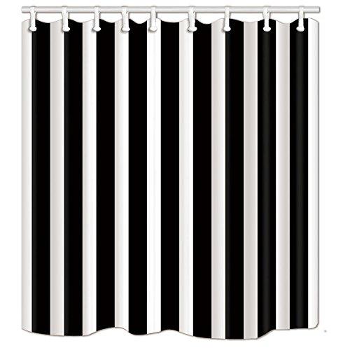 NYMB Schwarz-weiße klassische Streifen-Themen-Badevorhang, 175,7 x 177,8 cm, schimmelresistenter Polyester-Stoff, Duschvorhang, fantastische Dekorationen