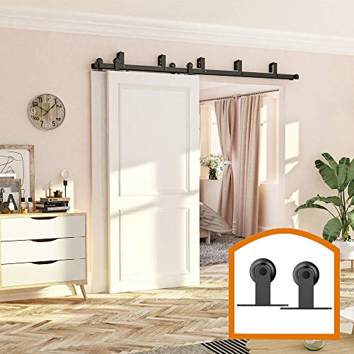 ZEKOO 10 FT Top Mount Bypass Double Sliding Barn Wood Door Track Hardware Kit for Low Ceiling