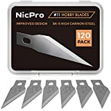 Nicpro 120 PCS Hobby Blades Set SK-5, Utility Excel Blades #11 Refill Exacto Art Blades Cutting Tool with Storage Case for Craft, Hobby, Scrapbooking, Stencil