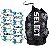 SELECT Turf Soccer Ball Package, Pack of 6 soccer balls with Duffle Ball Bag and Hand Pump, White/Blue/Green, Size 5