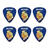 Huge! Donald Trump Caricature with Wind Blowing Hair Funny Novelty Guitar Picks Medium Gauge - Set of 6