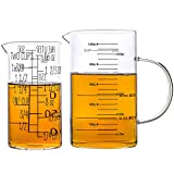 UMEIED Glass Measuring Cup Set, 2 Piece, High Borosilicate Glass Measuring Cup for Kitchen or Restaurant, with Insulated Handle and V-Shaped Spout, 4 Cup (1 L) + 2 Cup (500 ml), Black Scale