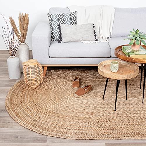 FRAAI Jute Teppich Oval - Fair Naturfarben - 100x152cm - Flachgewebe - Einfarbig - Boho, Ländlich, Modern - Wohnzimmer, Esszimmer, Schlafzimmer